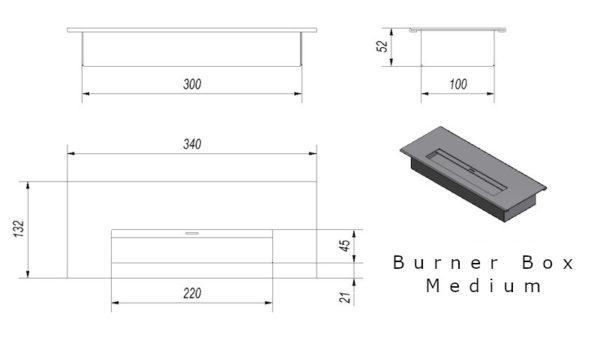 Burner Box Medium Tech Drawing