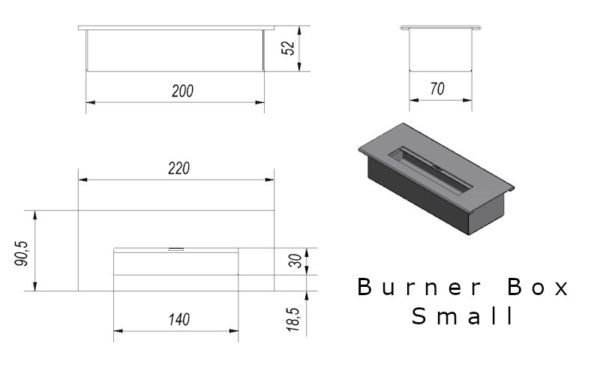 Burner Box Small Tech Drawing