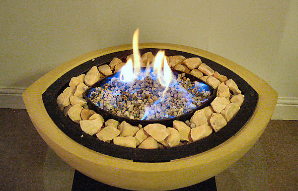 Bioethanol Fireplace Bowl in Sand with Brown Stones